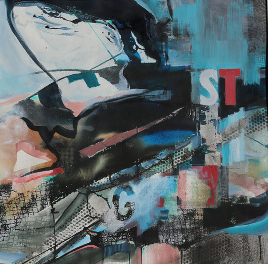 """Structures In The Concrete Jungle (Watermedia and Printed Elements) 29.25"""" x 29.25"""""""
