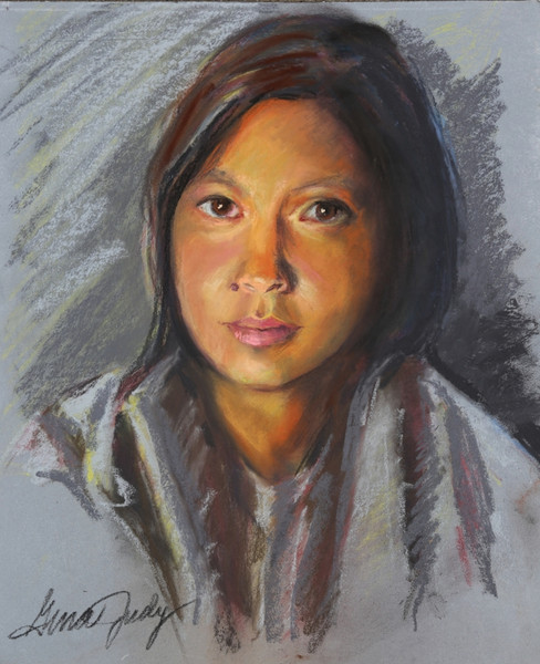 "KIM (pastel on board, 2017) 27"" x 20"""