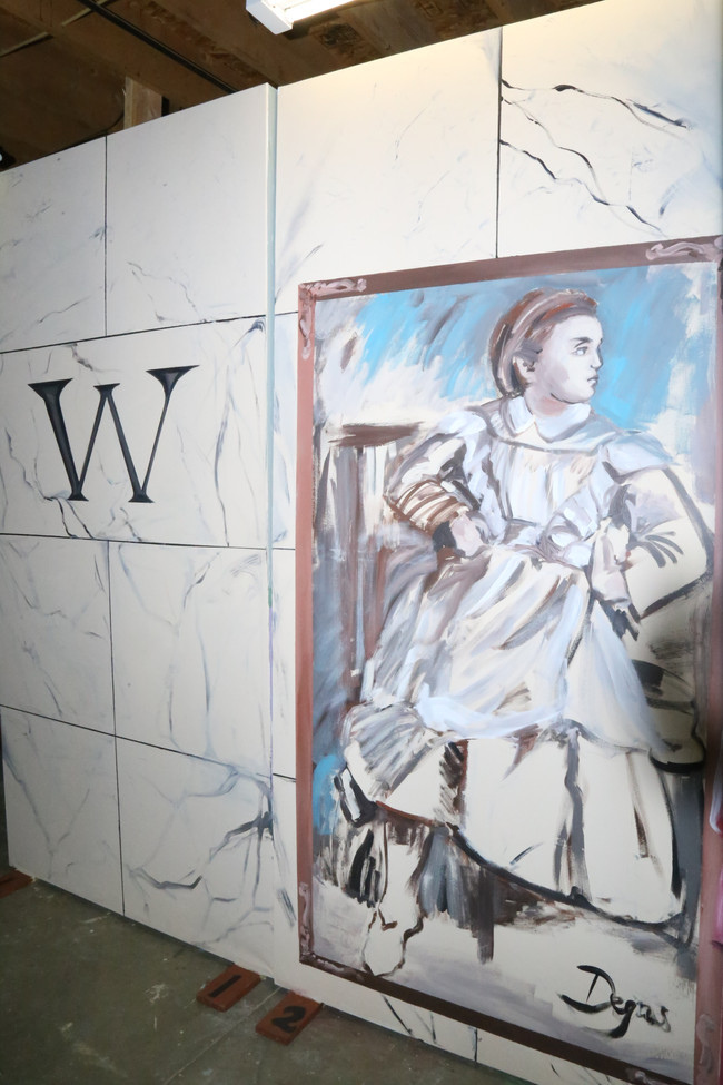 Detail of Daddy Warbuck's mansion wall (Degas/Portrait of Young Girl)8'x 44' painted in six days.