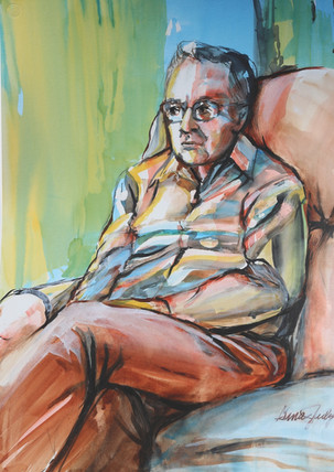 """Portrait of Alzheimer's: Going, with the 'Flow' (watermedia, 34"""" x 25.5"""")"""