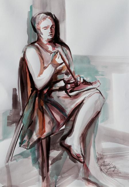 "Lacing Interlacement (watercolor live sketch 34"" x 25 1/2"