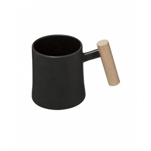 Mug en céramique noir et anse en bois