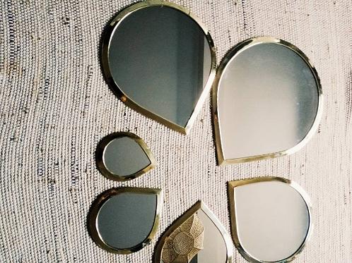 série de 5 miroirs dorés