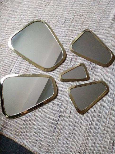 Série de 5 miroirs doré