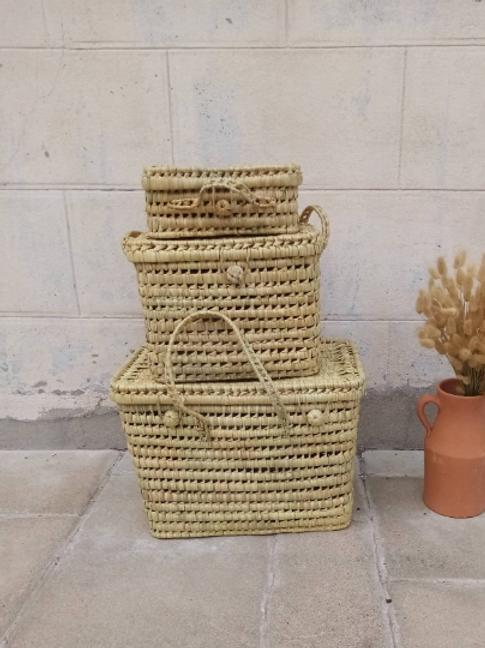 Coffre en feuille de palmier tresser et réalisé à la main au Maroc