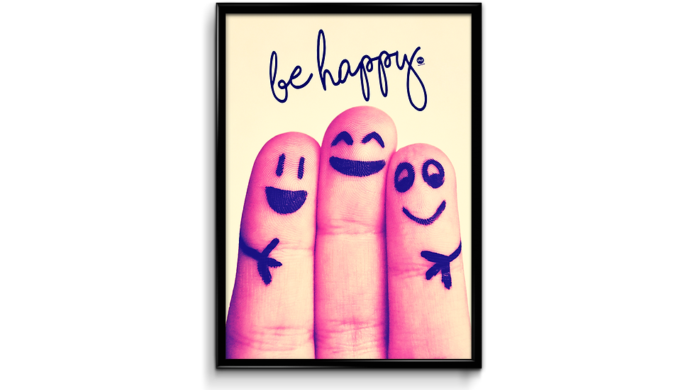 Be happy fingre - plakat