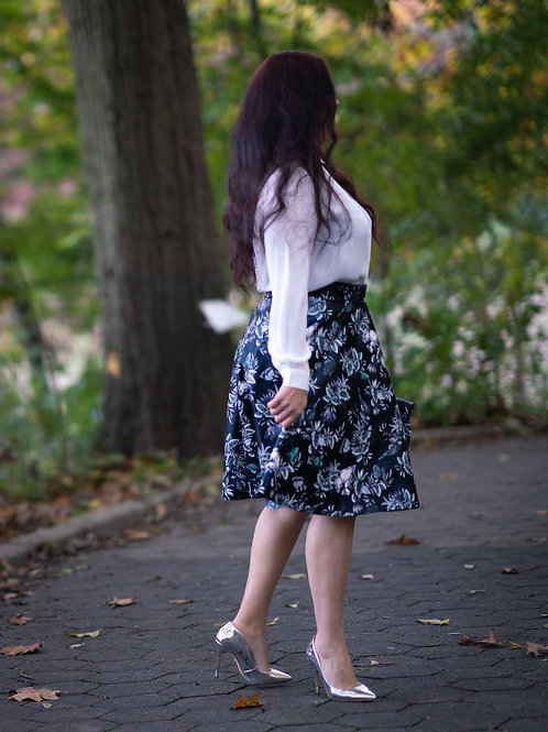 Blue Floral Printed Faux Leather Skirt