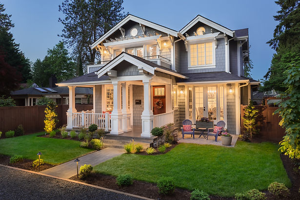 Beautiful New Home Exterior at Night_ Ho