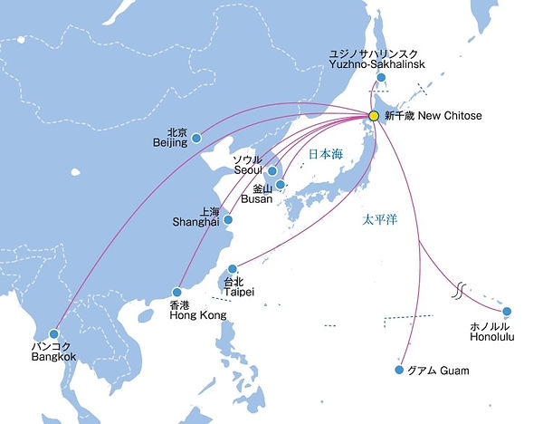 Main cities of international air routes to & from New Chitose Airport
