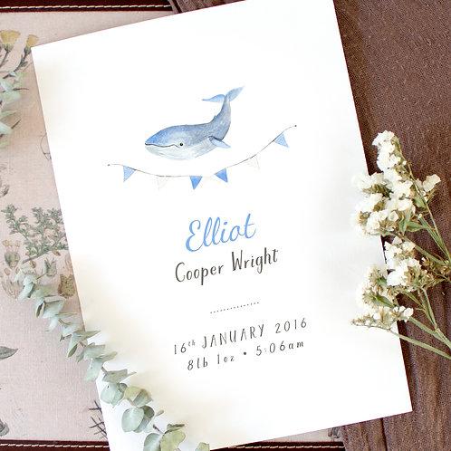 Whale Australian Wildlife Baby Birth Details Prints Personalised