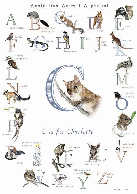 Personalised Australian Animal Alphabet Poster