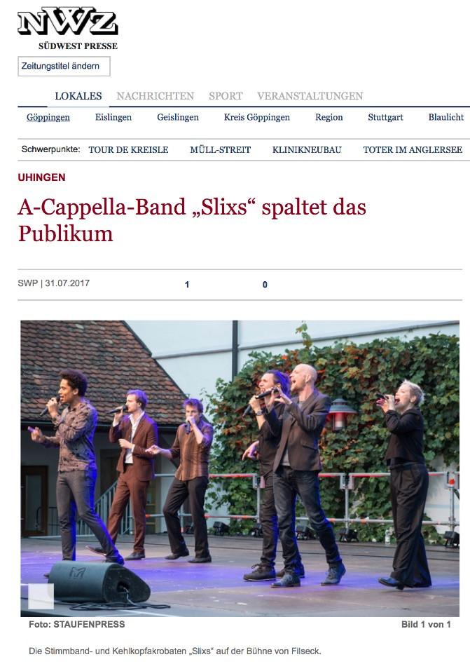 SLIXS Schloss Filseck A Cappella Gruppe 2017