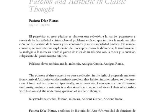Los contenidos de la forma: una reflexión sobre moda y pensamiento estético a la luz de los clásicos
