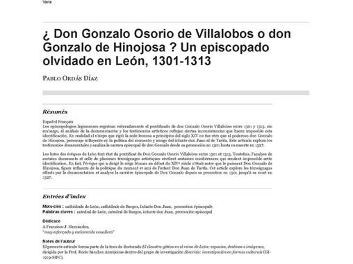 ¿Don Gonzalo Osorio de Villalobos o don Gonzalo de Hinojosa? Un episcopado olvidado en León