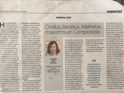 Ovidus, Iacobus, Matheus: maestros en Compostela (El Correo Gallego, 25/07/2017)