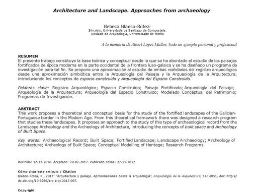 Arquitectura y paisaje. Aproximaciones desde la arqueología