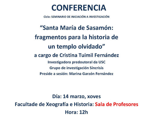 Seminario de Iniciación á investigación:  Santa María de Sasamón: fragmentos para la historia de un
