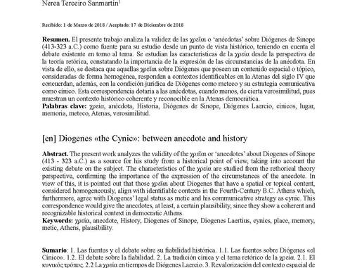 Diógenes «el Cínico»: entre la anécdota y la historia
