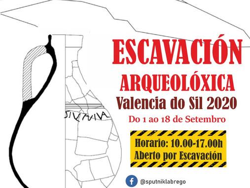 """""""Aberto por escavación"""": Intervención arqueolóxica en Valencia do Sil 2020 (1-18 setembro)"""