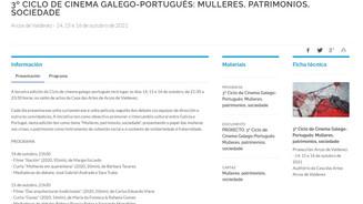 3º ciclo de cinema galego-portugués: Mulleres, patrimonios, sociedade
