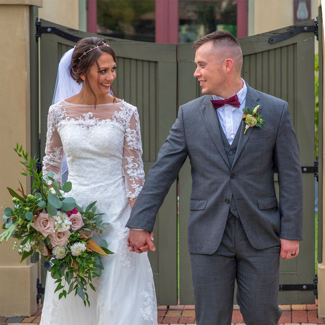 Married Couple, Bride, Bride and Groom, Wedding Gown, Tuxedo, Bouquet, Veil, Love