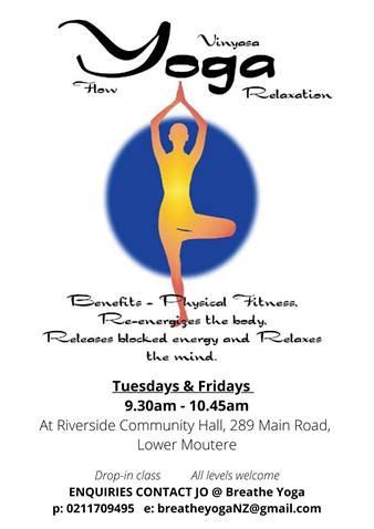 Vinyasa Yoga now also on Friday Mornings at Riverside Centre