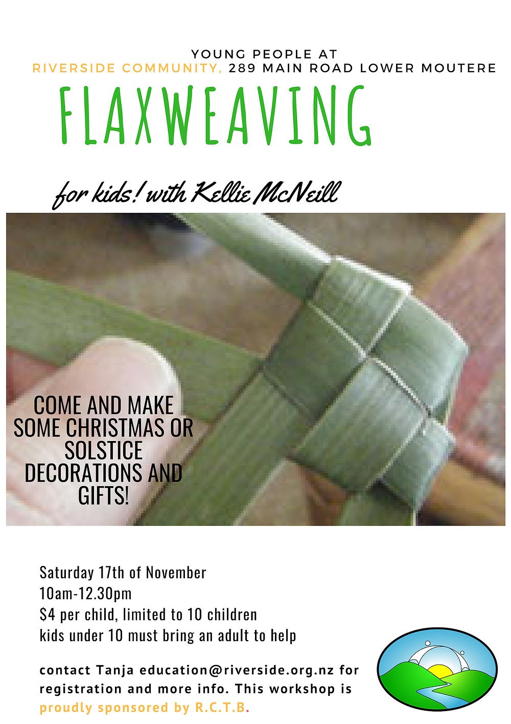 Flax Weaving for Kids at Riverside Poster