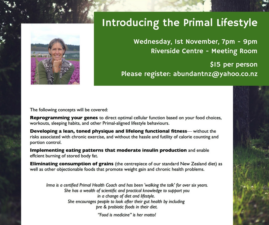 Poster for the workshop on introduction to the primal lifestyle at Riverside Community, organised by the Riverside Education Programme