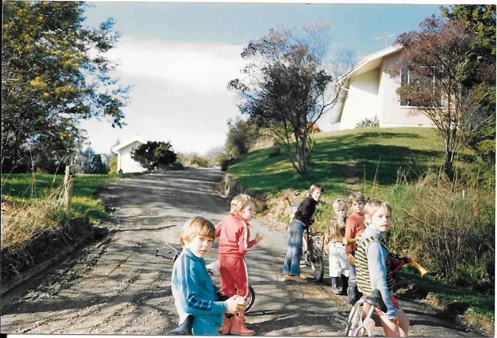 Kids in front of the Centre, 1980s