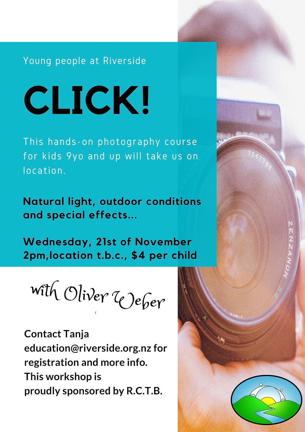 Photography workshop for kids at Riverside
