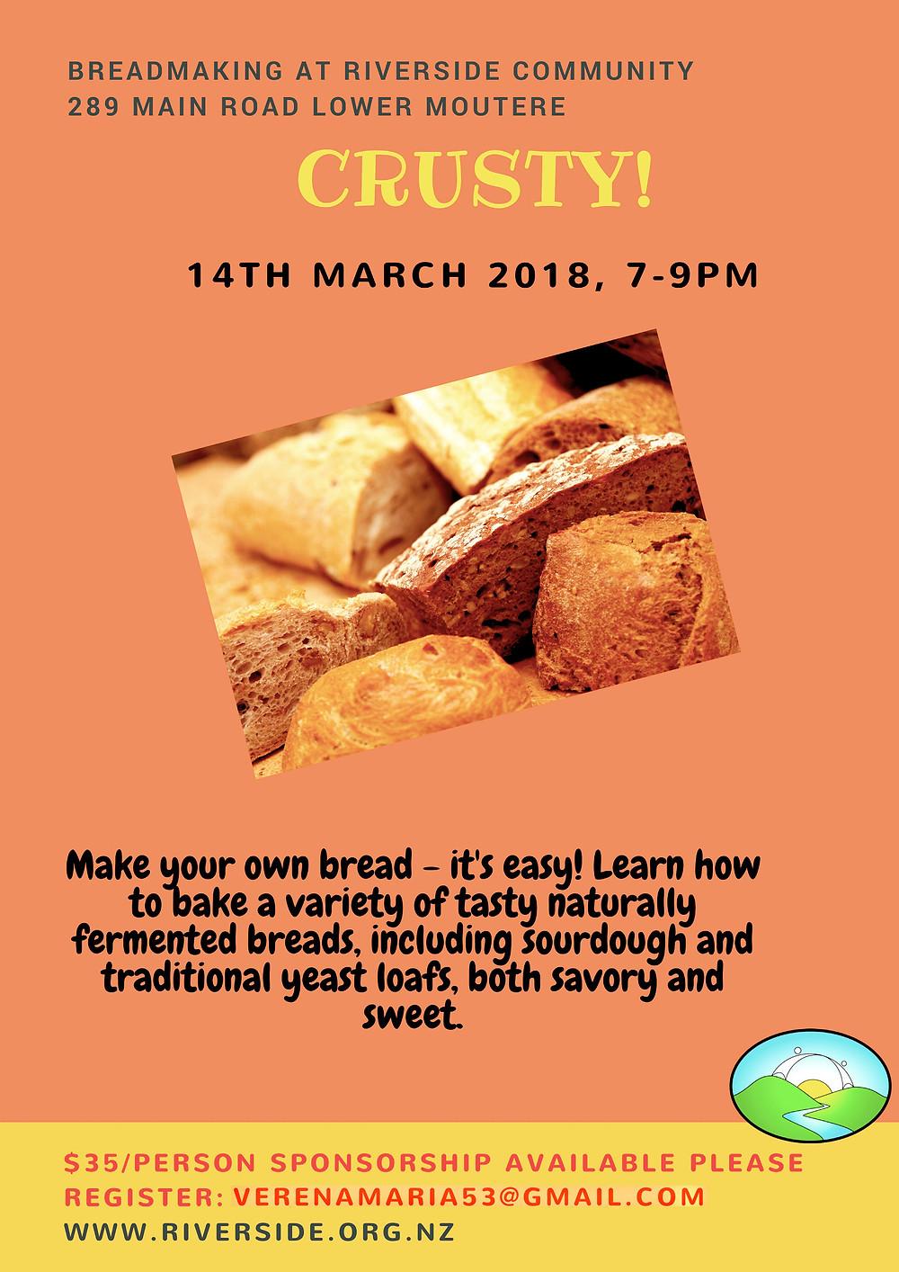 Bread Making Workshop at Riverside Poster