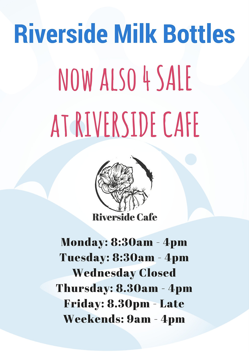 Milk Glass Bottles are now also for Sale at Riverside Cafe