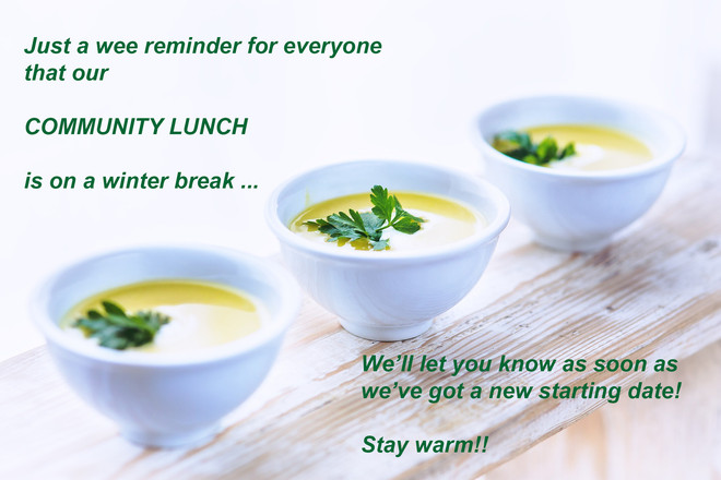 No Community Lunch Until Further Notice