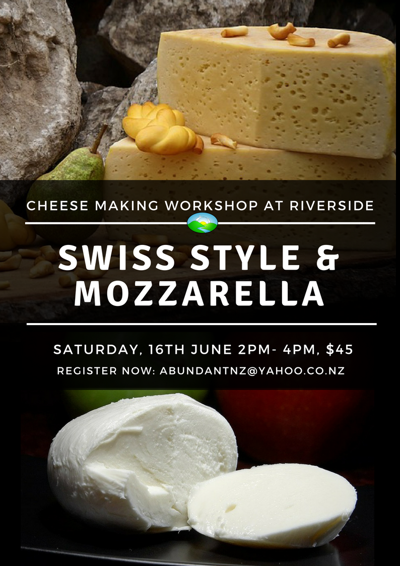 Swiss style cheese and Mozarella workshop poster