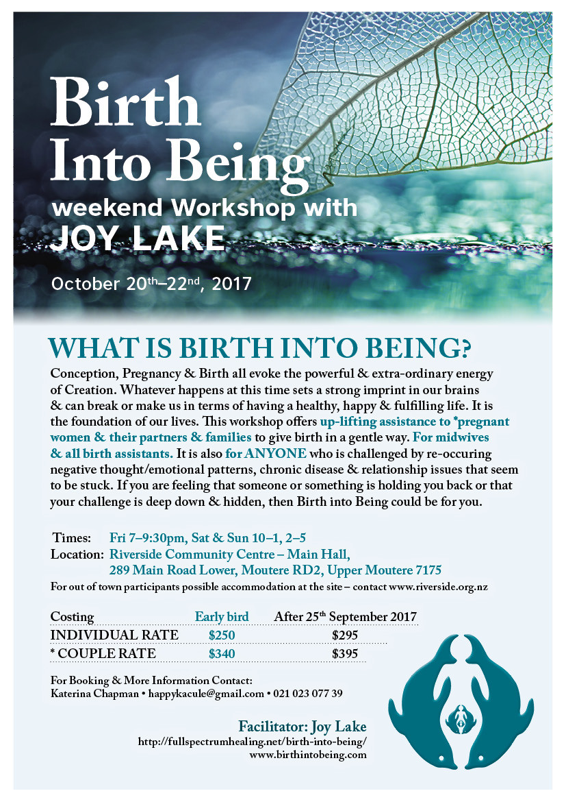 Poster for Birth Into Being Workshop at Riverside in October 2017