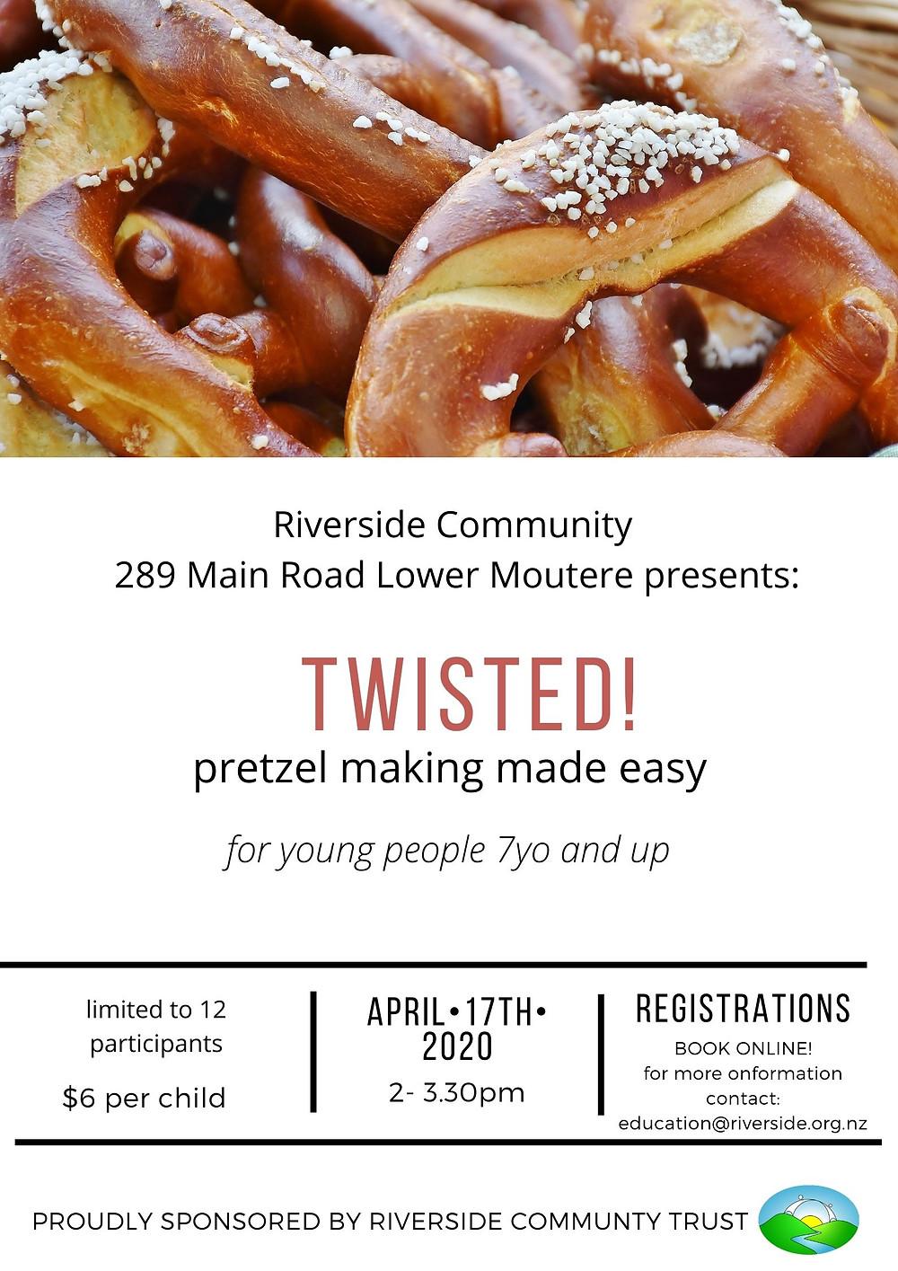 Poster of a Pretzel Making Workshop for Kids
