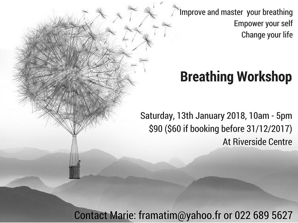 Man in Dandelion Hot-Air Balloon Poster, Breathing Workshop at Riverside Community