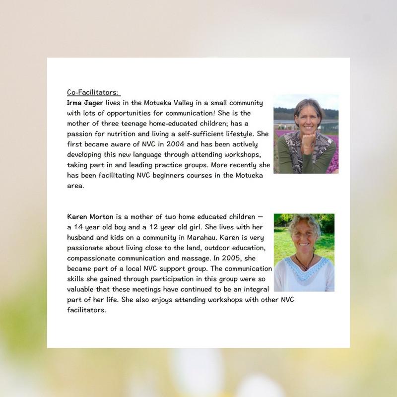 NVC Facilitators Irma Jager and Karen Morton