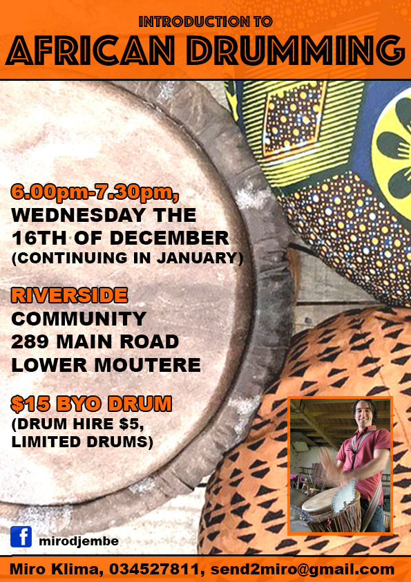 African Drumming sessions continue Wednesdays!