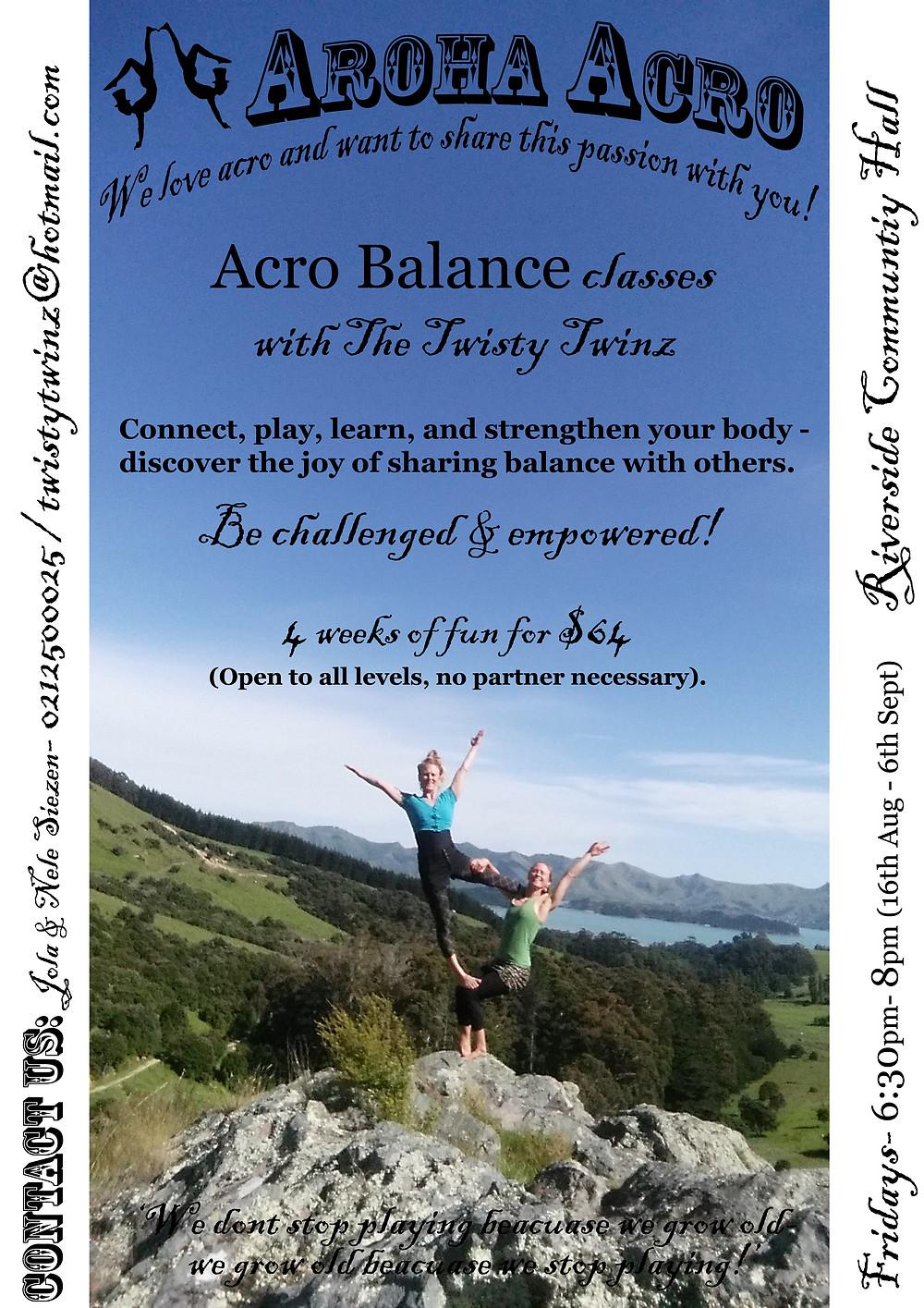 Aroha Acro Balance workshop poster