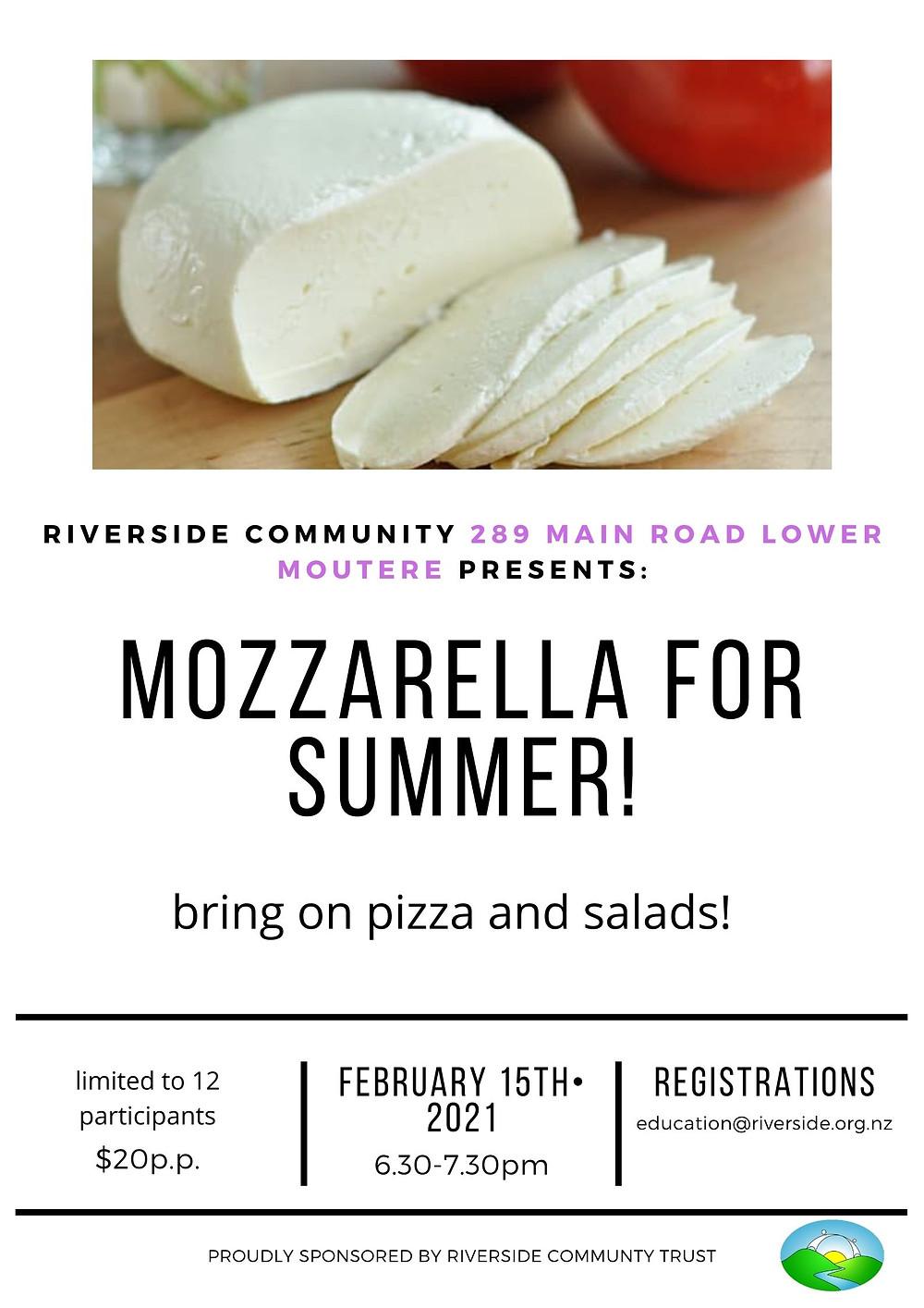 Mozarella Summer Workshop at Riverside Community NZ