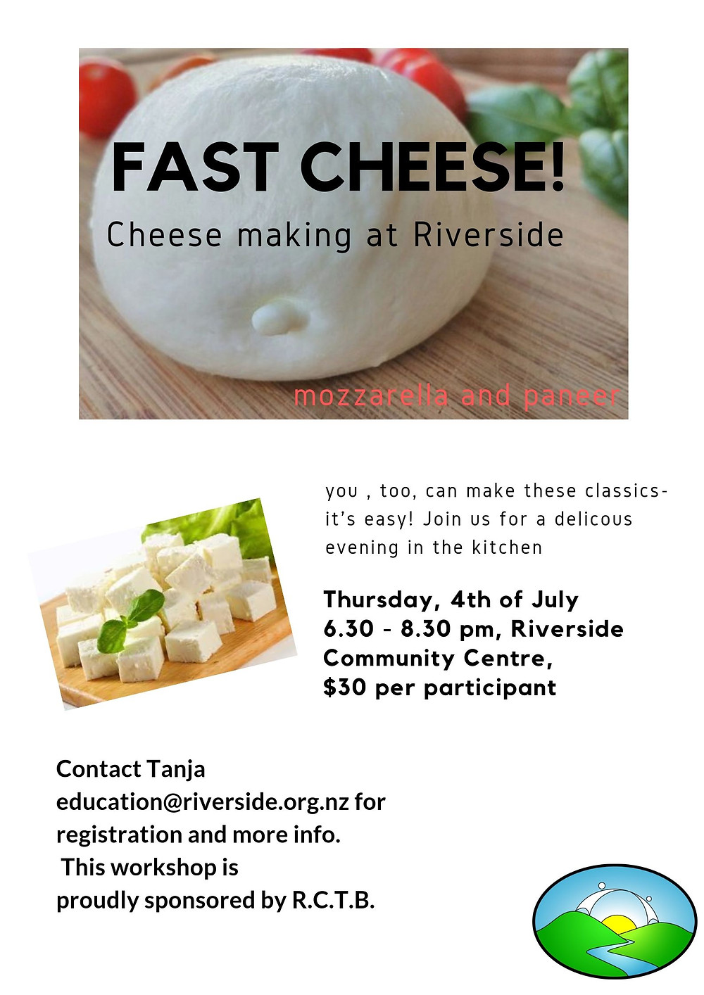 Mozzarella on board with basil and tomato poster