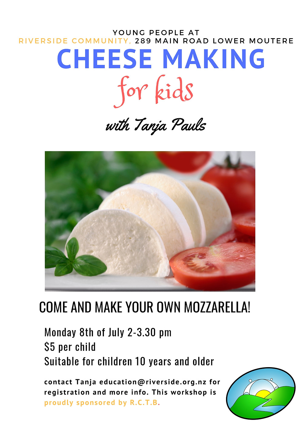 Cheese with tomate Kids workshop poster