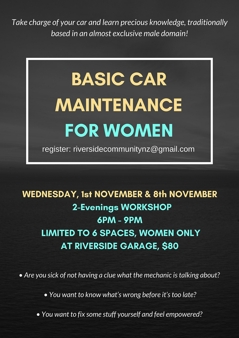 Poster for Car Maintenance Workshop for Women