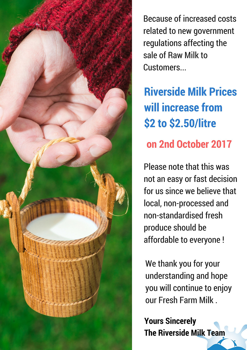 Fresh Riverside Milk Prices increase to $2.50