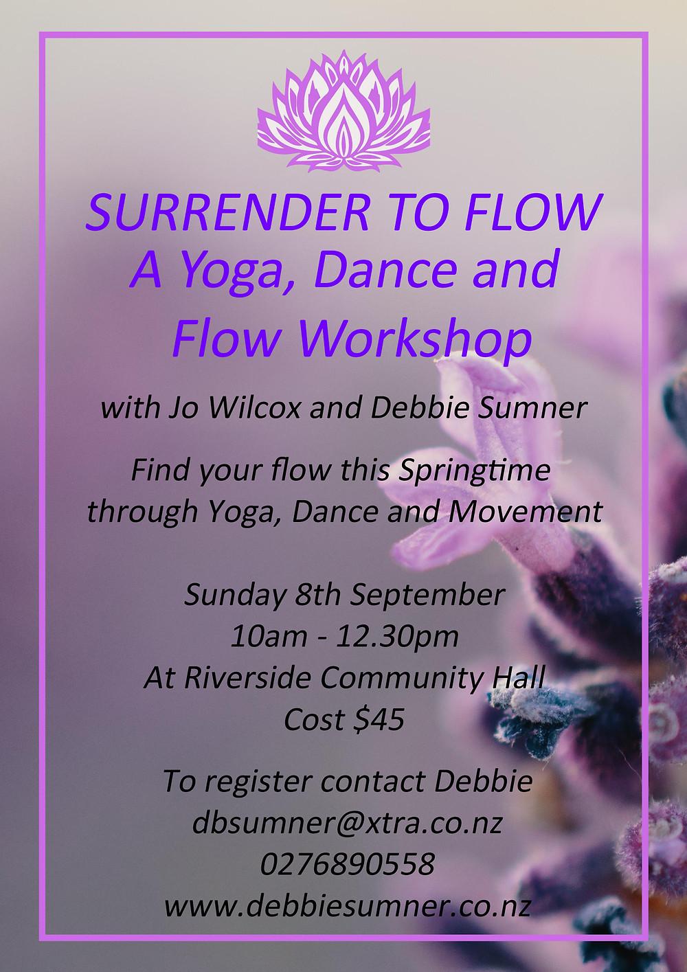 Yoga workshop at Riverside Poster with flower