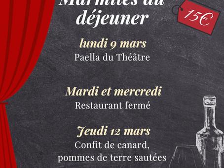 Marmites du déjeuner du 9 au 13 mars