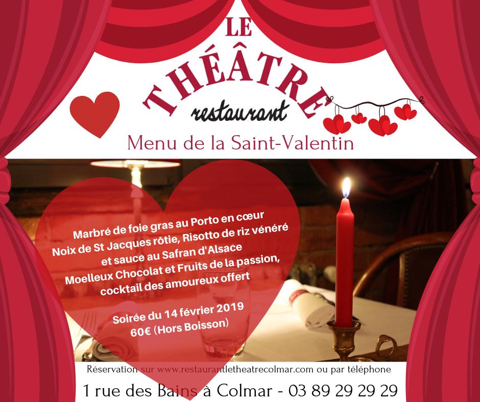 Menu de la Saint Valentin au restaurant Le Théâtre à Colmar