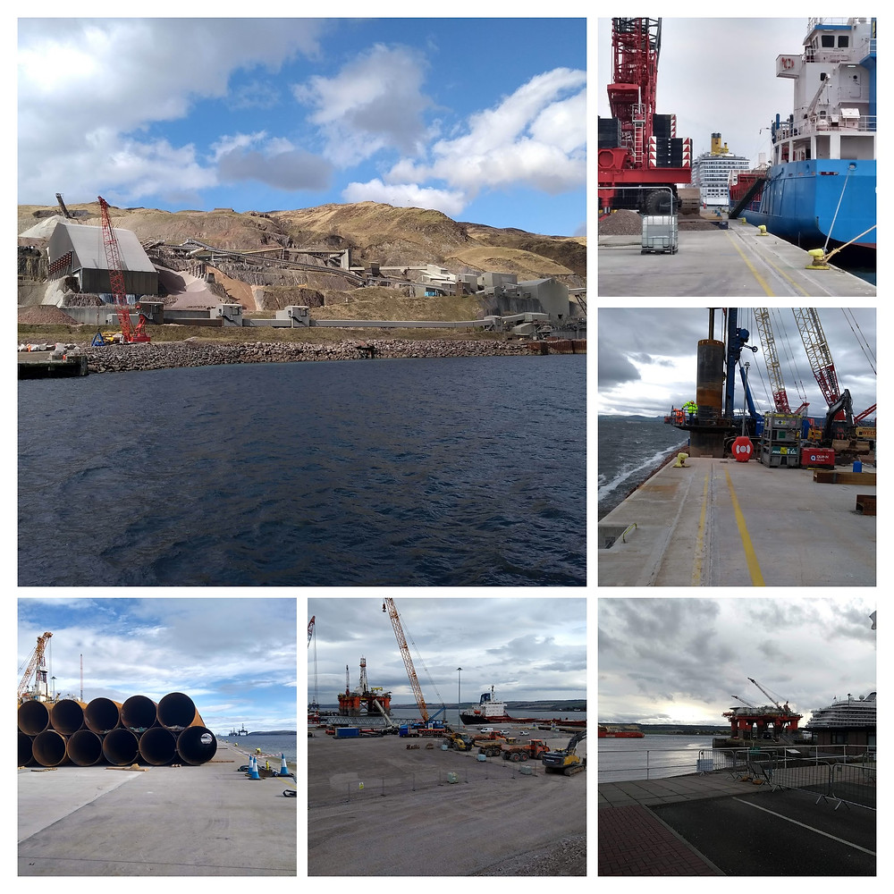 Photo montage with super quarry and photos of development platform at Port of Cromarty Firth Phase 4 Development with various pieces of plant and equipment.