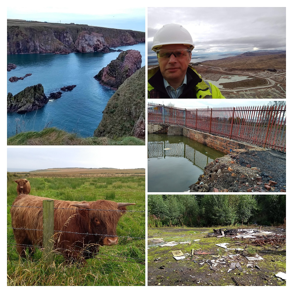 Coastal rocky cliff at Peterhead on a sunny day, Gary with large super quarry in the background, some highland cattle in a field, remnants of a boiler house from an old school, derelict land with waste and contaminated materials.